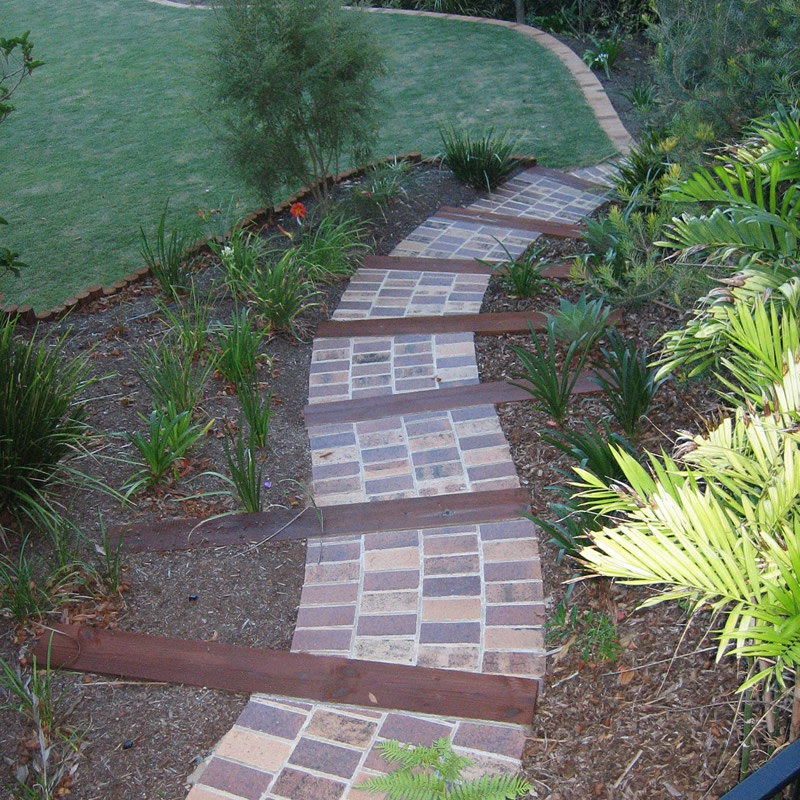 Clay Pavers with Treated Timber Sleepers