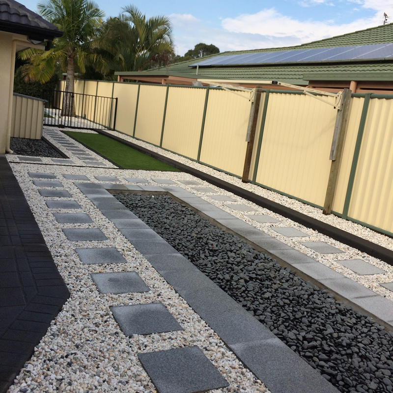 Granite Pavers with White Pebbles
