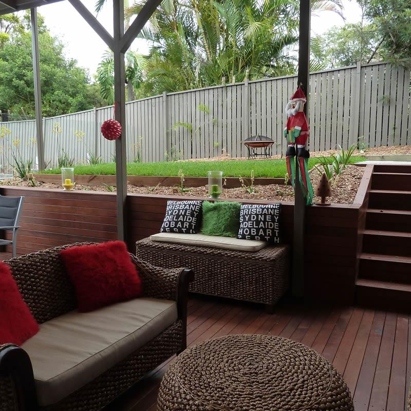 Treated Pine Timber Retaining Wall covered with Hardwood Decking Timber
