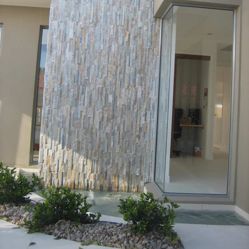 Split stone feature at house entrance
