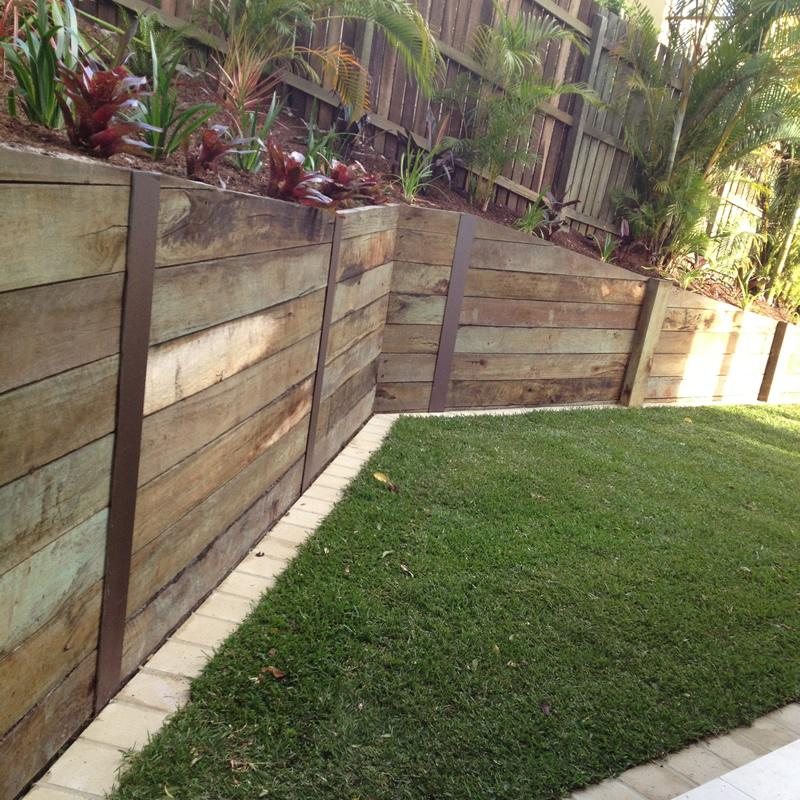 Repairing Landscape Timber Retaining Wall Wood Treated Sleeper
